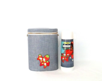 Vintage Aladdin Industries Thermos Set 1970's Denim Look Strawberry Accent Insulated Lunch Bag with Hot/Cold Rustless Thermos Retro Lunchbag