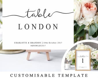 table names wedding. DIY Wedding Table Names And Number Template, Printable Reception Name Sign, Modern Calligraphy