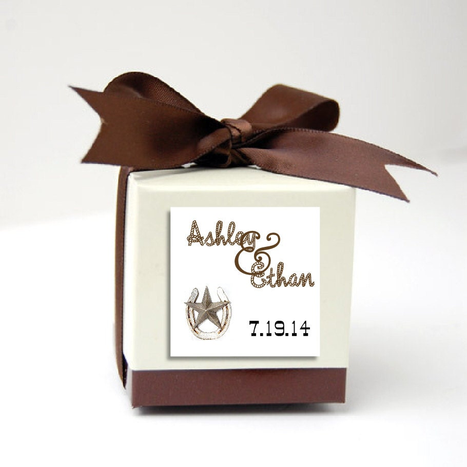 100 Western Rustic Wedding Favor Stickers. Personalized printed ...