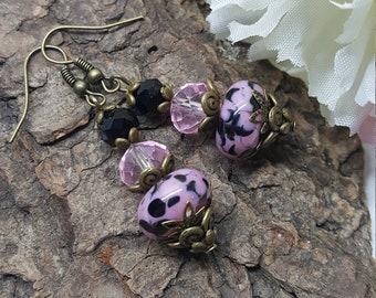 Pink & Black Lampwork Glass Earrings