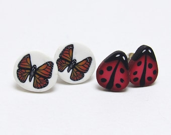 Bug Stud Earrings, Butterfly Studs, Ladybug Earrings, Black Red Orange, Polymer Clay Cane, Nature Jewelry, Spring Jewelry, Womens Gift