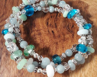 Murano glass, Amazonite and crystal beaded wrap bracelet or single strand  necklace By Destiny Pier
