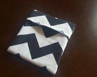 Ready to ship! Pad Wrapper- Black Chevron