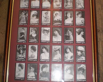 Complete set of 30 Morris's Silent Film Actress Cigarette Cards from 1898 in modern frame.Near Mint condition