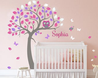 Nursery wall decal-Tree Wall Decal-Wall Decals Nursery-Corner Tree Wall Decal--Nursery Tree Decals-Monogram-Tree Name Decal