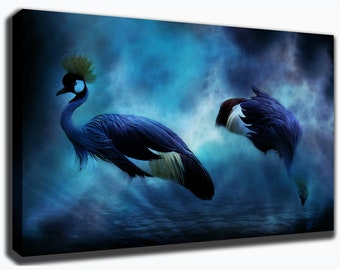 Grey Crowned CRANE - Large Bird in Water Canvas/Poster Wall Art Pin Up HD Gallery Wrap Room Decor Home Decor Wall Decor