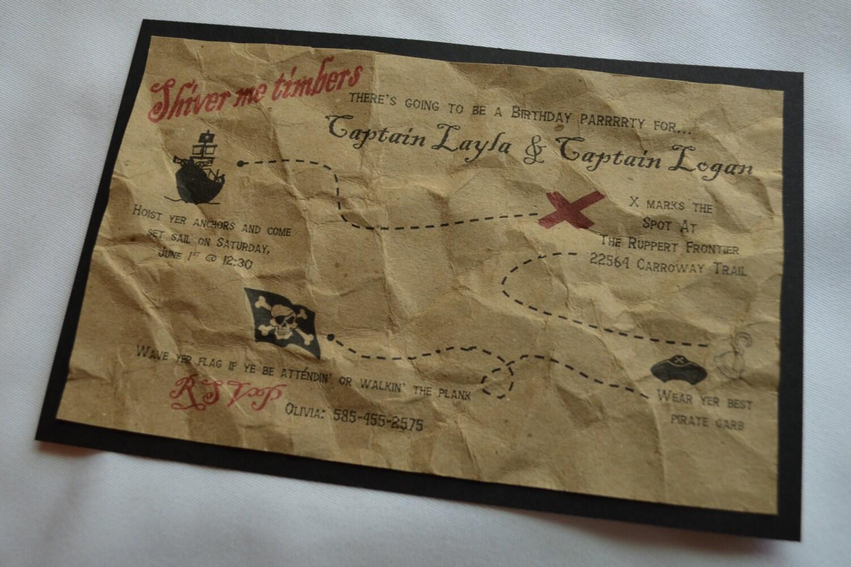 Pirate Birthday Party Invitations Treasure Map Skull cross
