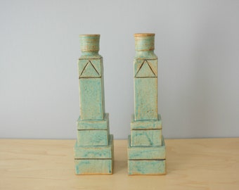 Vintage Geometric Turquoise Candle Holders, Mid Century Modern Style Candle Holders