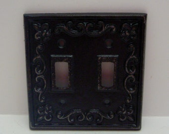 Fleur de lis Cast Iron FDL Light Switch Plate Cover Double Wall Shabby Elegance Distressed Rustic French Decor Classic Black