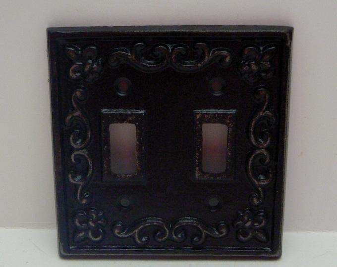 Fleur de lis Cast Iron FDL Light Switch Double Cover Black Shabby Chic Home Decor
