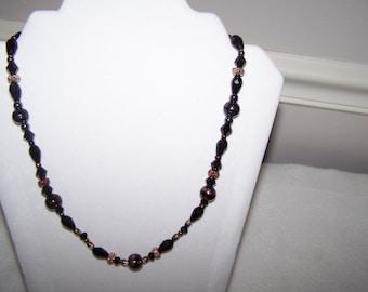"NEW Hummingbird Toggle Closure, 20"" Beaded Necklace, Black, Copper, Hematite, Copper/Black Swirl Focal Bead"