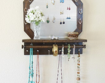 Jewelry Organizer with Octagon Shape, Necklace Organizer, Wall Jewelry Organizer