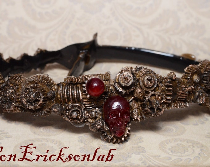 Halloween Costume Jewelry Steampunk  Gear Choker - Antiqued Brass Steel Tone - Cyberpunk Jewelry