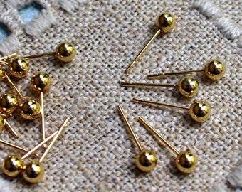 100pcs Earrings Findings Gold-Plated Ball 4mm Ball Post Earpost Earstuds