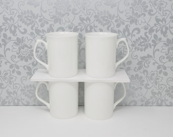 White Bone China Mugs 9297 Set of 24 Tankard Shape Tea or Coffee Mug Topaz