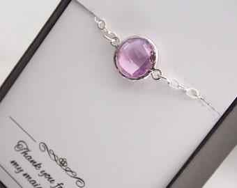 Lavender Bracelet, Sterling Silver Lavender Bridesmaid Bracelet, Purple, Lilac, Bridesmaid Jewelry, Glass, Wedding Jewelry, Lavender Wedding