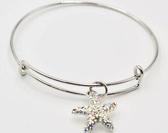 Silver Starfish Bangle Bracelet