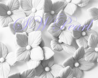 White Flowers Hydrangea Veined Various Colors Set edible sugar cake cupcake toppers