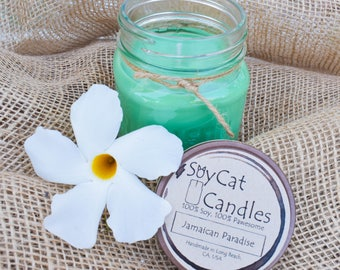 SoyCat Candles 8 oz Jamaican Paradise (Coconut & melon scented/100% Soy Wax/Homemade/Rustic Style)