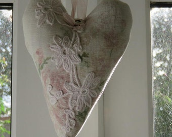 Lavender Hanging Heart Vintage Laura Ashley Fabric