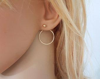 Gold circle earrings, gold ear jackets, double sided earrings, double circle ear cuff