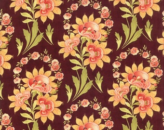 Fig Tree Fabric Plum Hazel and Plum Fabric - Plum Floral Quilt Fabric By The 1/2 Yard
