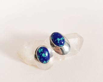 Vintage Silver and Azurite Studs