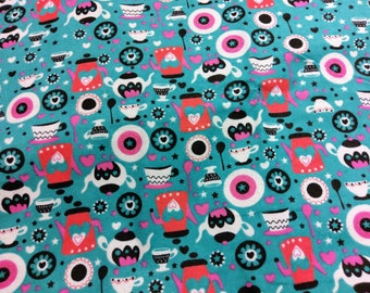 Adorable Tea Pot Flannel Fabric | Teapot fabric for little girl  | fabric by the yard | Nursery fabric | Teal Pink Red White Black