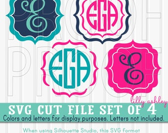 Monogram SVG Files Set of 4 cutting files SVG/JPG formats Commercial use ok! Scallop frame svg {colors/monograms for display, not included}