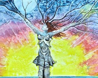 Chakra Dance,tree goddess,Joyful,shamanic symbols,Dryad,Earth Mother,springtime,rainbow,Flame Bilyue,fantasy landscape,pagan art,Spirit