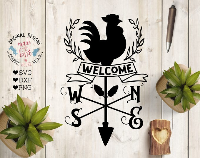 Featured listing image: Welcome Farm SVG, Welcome Rooster Wind Compass Cut File in SVG, DXF, png, Farm svg file, Rooster svg, wind compass svg, welcome farm dxf