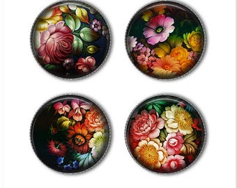 Zhostovo Russian Folk Art magnets or pins, Russian flowers,  refrigerator magnets, fridge magnets, office magnets (4)