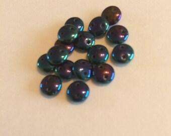 Blue Iris 6mm 2 hole CzechMates Lentils 50 pieces