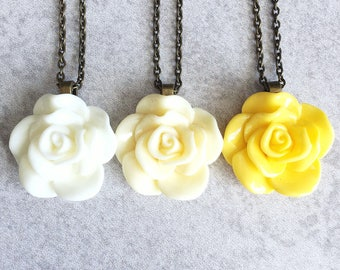 Snow White · Buttercream · Lemon // Yellow Rose Necklaces - Antique Bronze Chain, 30mm Resin Cabochon, Ivory, Flowers, Bridesmaid Jewelry