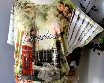 New Adorable Sublimation tunic top with Rhinestone work,Artsy LONDONy print. One Size.