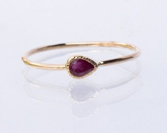Natural Ruby Ring in 14k yellow gold, Teardrop Ruby, Teardrop Ring, July birthstone, Anniversary Gift for Her, Ruby engagement ring