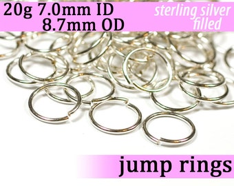 20g 7.0 mm ID 8.7 mm OD silver filled jump rings -- 20g7.00 jumprings
