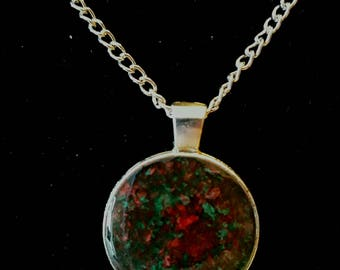 Resin jewelry necklace, handmade, resin cabochon painted with acrylic colors