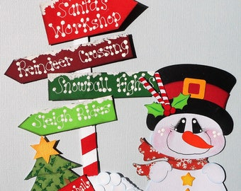 Christmas Snowman Handmade Scrapbook Embellishment Die Cut 4 Cards Borders Pages Elite4u