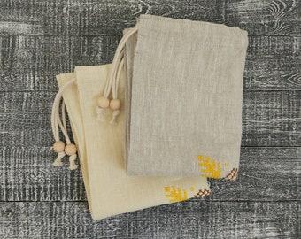 Natural linen bread bag, Reusable bread bag, Bread keeper, Linen drawstring bag.