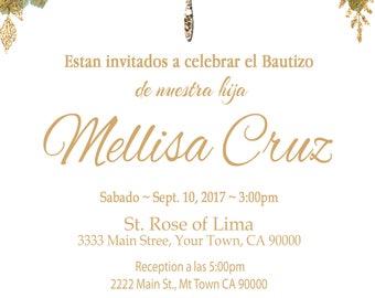 Invitacion de Bautizo para Cuates o indivudual Imprima en casa