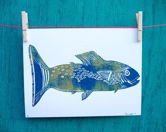 Fisherman Art, Gifts for Guys, Wall art for Guys, Fish Print, Coastal Art, Gone Fishing, Beach Life Decor, Linocut Print for Sale, Blue Fish