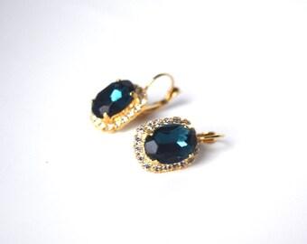 Navy Rhinestone Earrings, Dark Blue Earring, Navy Crystal Jewelry, Bridesmaid Earring, Wedding Earrings, Dark Blue Jewelry, Paste Earring