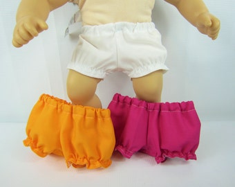 """Baby doll clothes, 3 pair bloomers, 15"""" doll panties, 15"""" doll underwear, Pink white orange, toys dolls accessories, handmade doll clothing"""