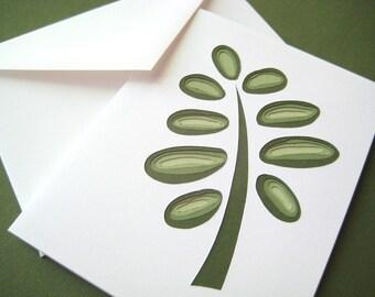 Retro Fern - one hand cut art card