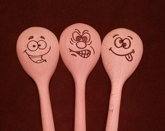 "Beechwood 12"" spoon with silly face! (Many faces to choose from)"