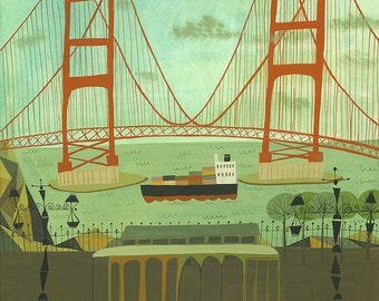 Golden Gate Bridge.  Limited edition print by Matte Stephens.