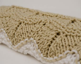 Hand Knit, Extra Large Two-tone Baby Blanket