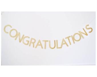 congratulations banner, gold banner, congrats banner, graduation banner, congrats grad, wedding banner, anniversary, engagement