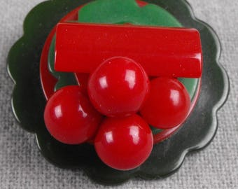Bakelite Cherry Brooch
